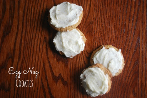 overhead view of frosted egg nog cookies on table