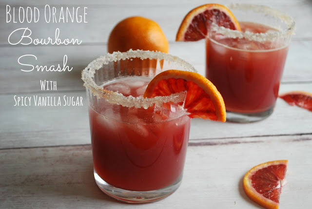 Great winter cocktail - blood orange bourbon smash with spicy vanilla sugar rim