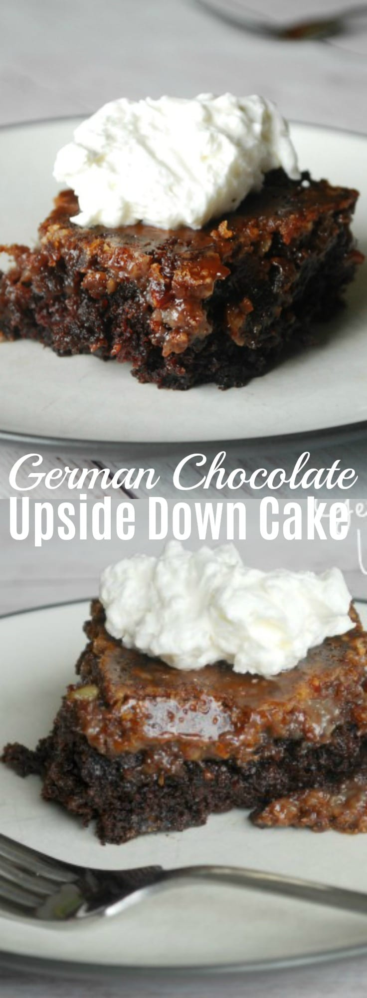 This German Chocolate Upside Down Cake has all the taste of a fussy layer cake, but at a fraction of the work! 