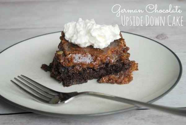 German Chocolate Upside Down Cake - Amazing chocolate cake with a gooey topping