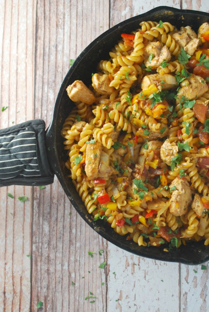 Tex Mex Skillet Meal - Chicken Fajita Pasta is ready in under 30 minutes!