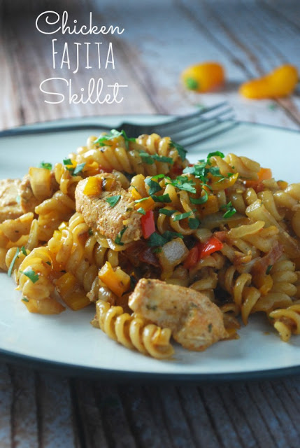 Chicken Fajita Skillet Pasta is a one pot family friendly meal that's perfect for any weeknight! Ready in 20 minutes!