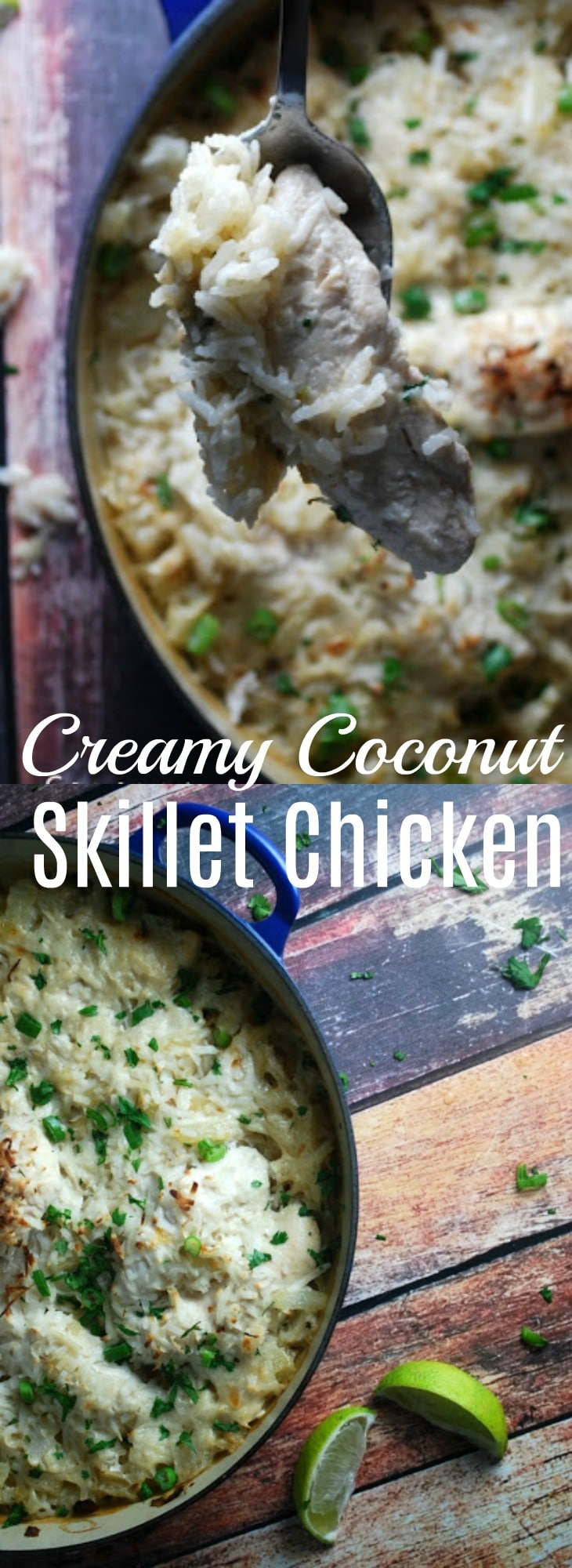 This skillet Coconut Chicken is a perfect weeknight meal. Just 30 minutes worth of work, real ingredients, and and a taste kids actually like!