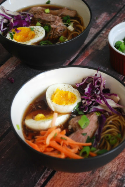 Pork Ramen with all the toppings! super easy and so delicious!