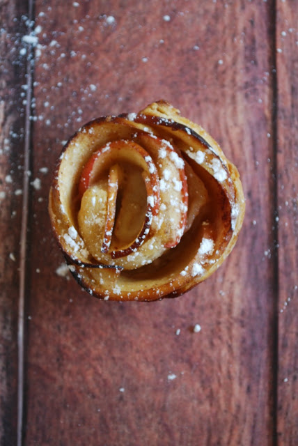 overhead view of apple rose made with puff pastry