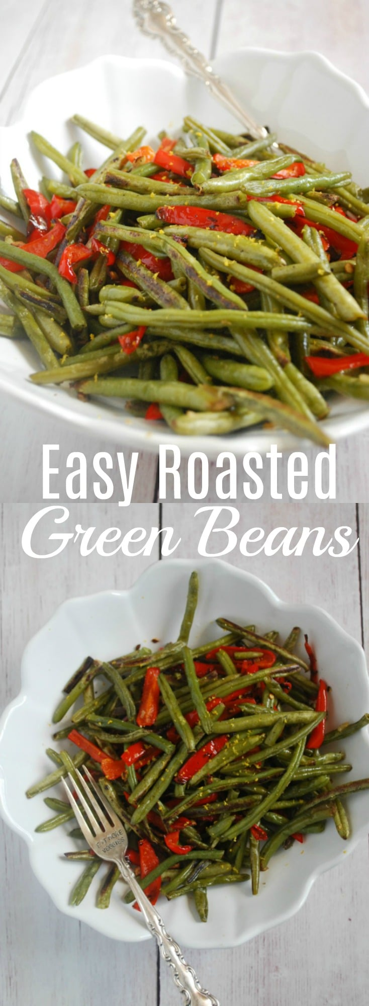 These easy roasted green beans are packed with flavor and so simple and quick to make! They will pair perfectly with any dinner!