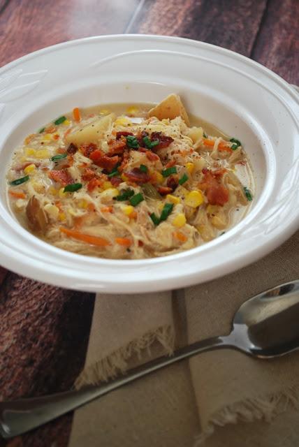 chicken corn chowder in white bowl