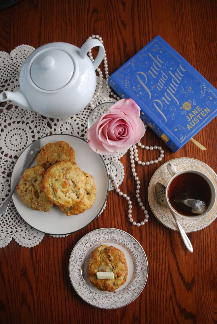 These Pride and Prejudice inspired, tender flaky apple cheddar bacon scone recipe make a lovely addition to any meal or tea party! Enjoy with soup or a good book.