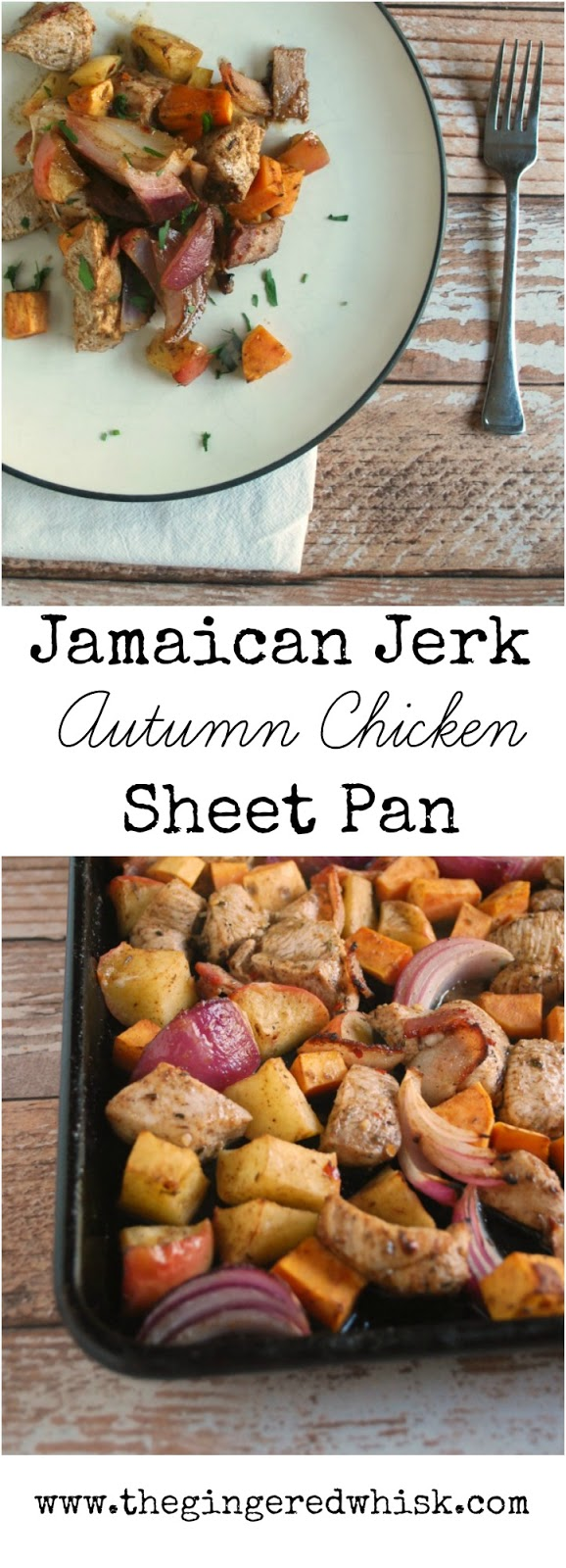 This easy sheet pan dinner boasts some of fall's best produce while spicing it in a fun and unusual way! Your family will love this quick dinner! 