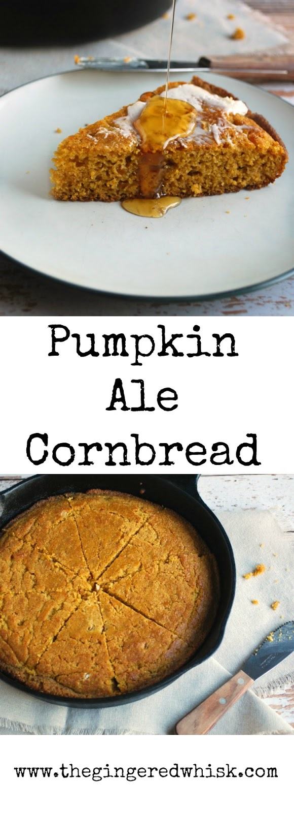 This skillet cornbread is the perfect fall side dish - infused with hearty ale, real pumpkin, and maple syrup. It will pair gorgeously with anything you serve it with. 