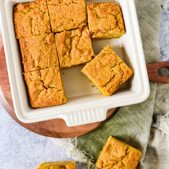 overhead view of square baking pan with cut cornbread