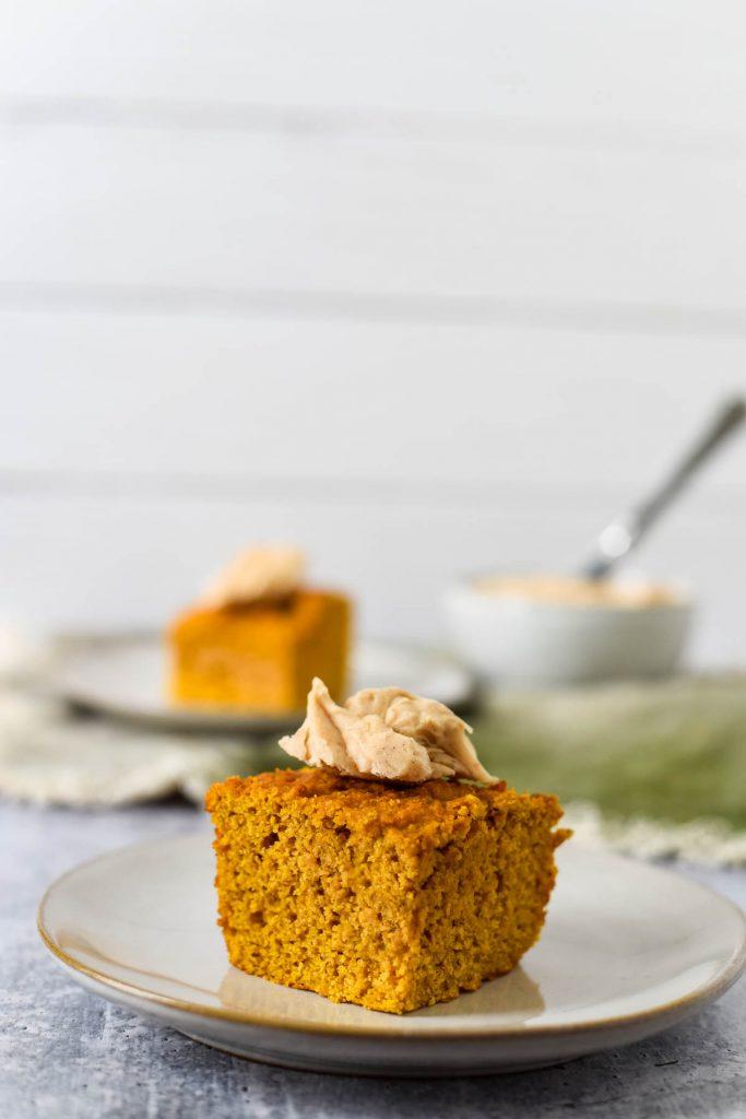 pumpkin cornbread piece on plate