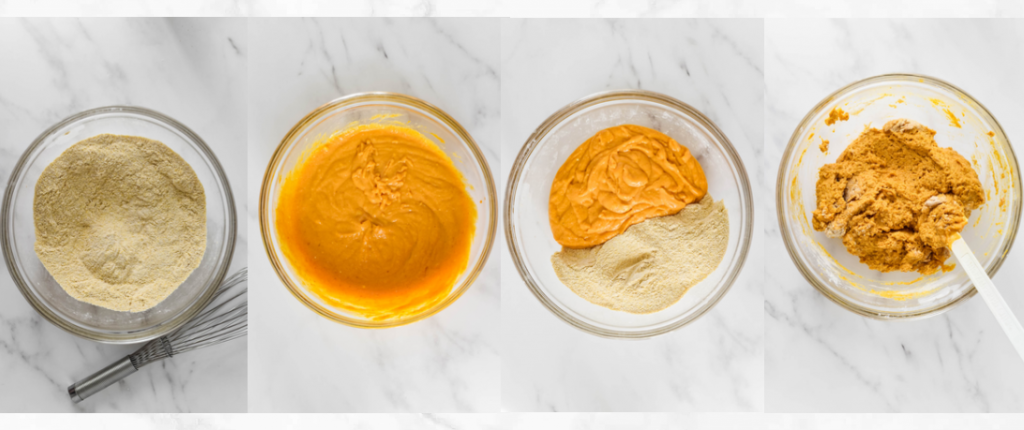 mixing batter for cornbread with pumpkin