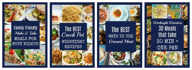 "collage images with ""best crock pot weeknight recipes\"" text overlay"