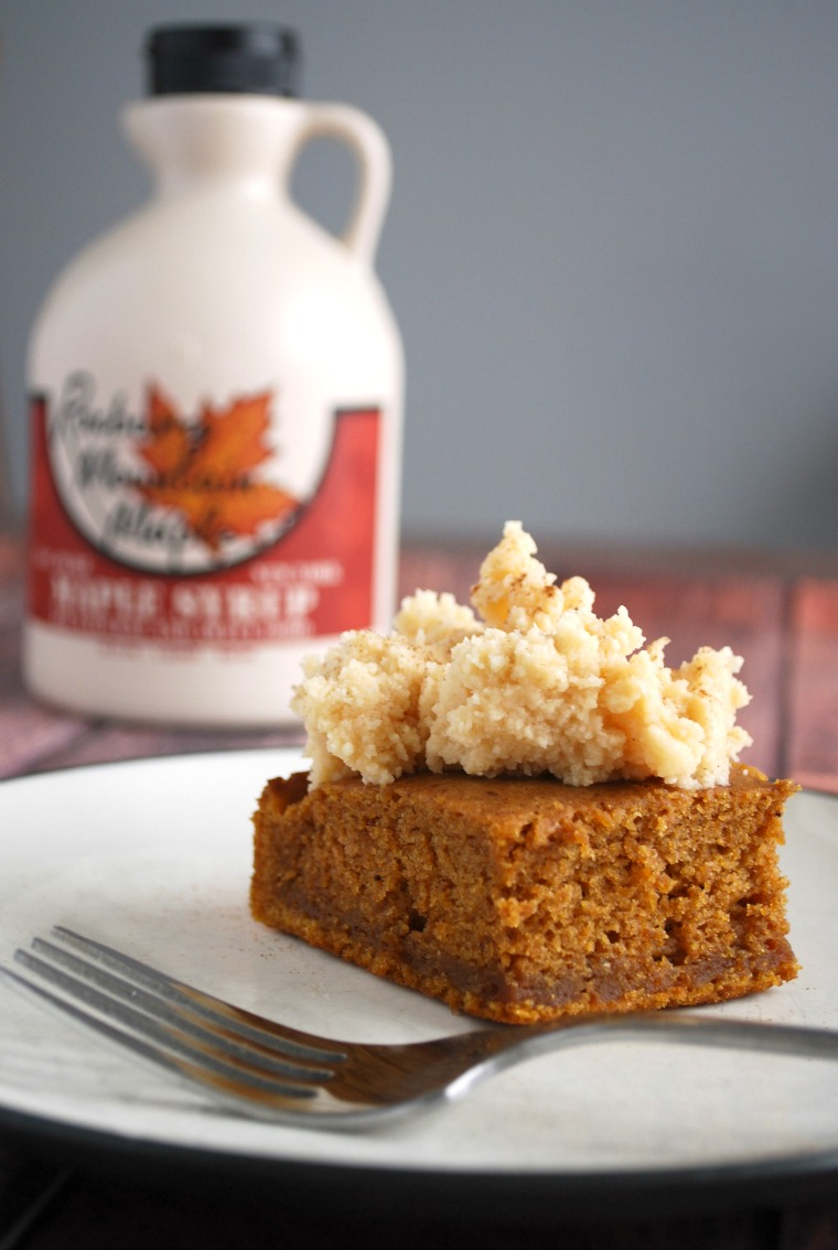 This is the ULTIMATE fall cake! A moist pumpkin gingerbread cake sweetened with maple syrup and topped with a earl grey infused whipped frosting.
