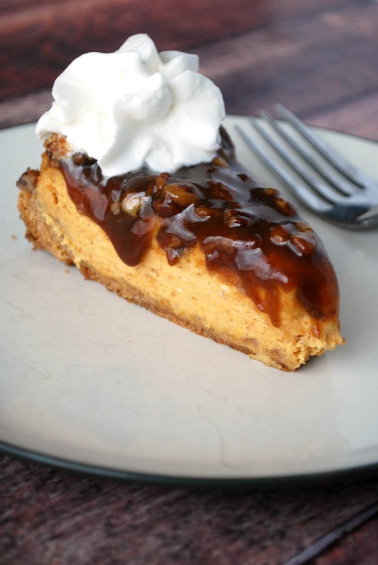 Pumpkin Cheesecake with Pecan Pie Sauce