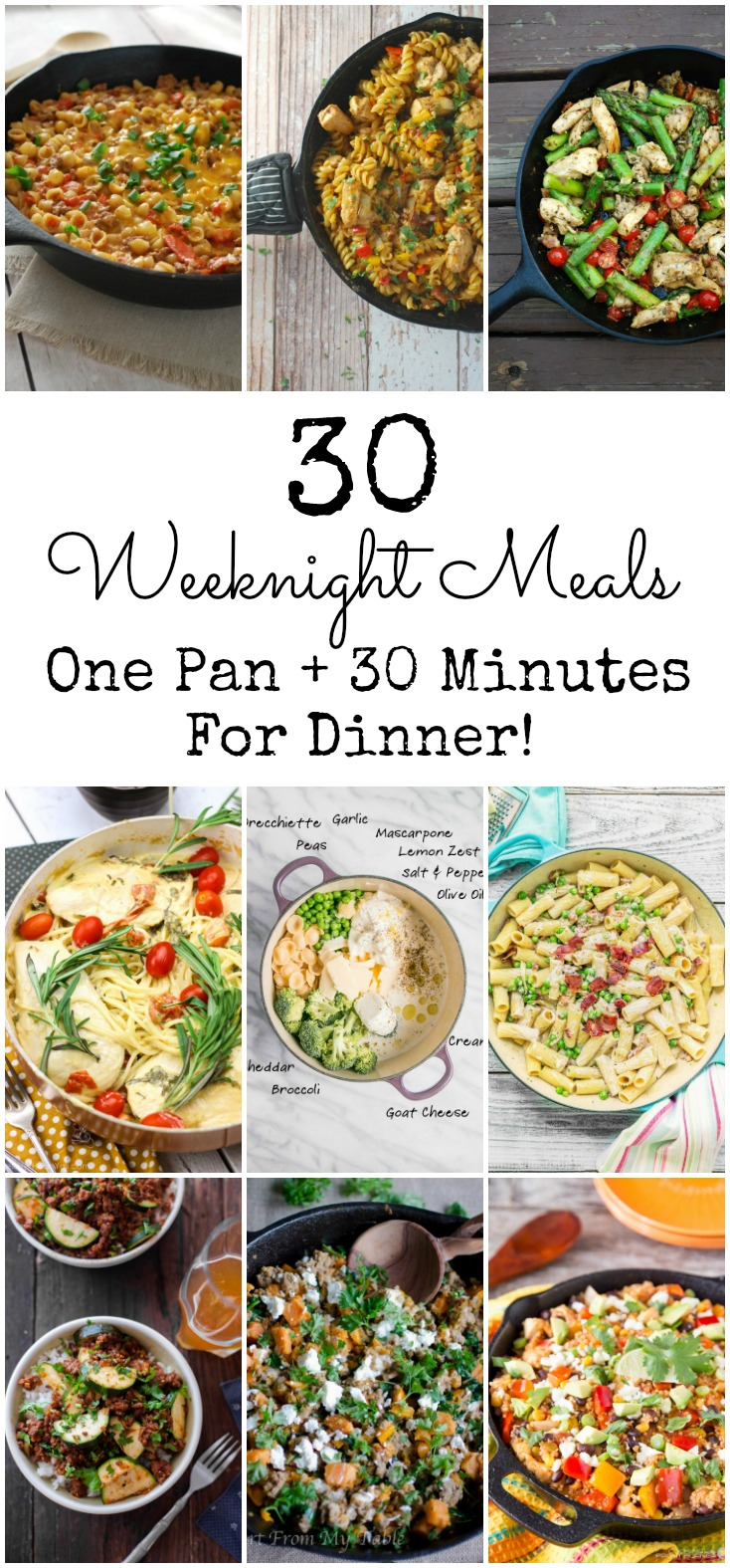 Need dinner inspiration? Here are 30 awesome meals that take one pan and 30 minutes! No funky ingredients!  30 Minute Meals, One Pan Recipe, Skillet Meal,