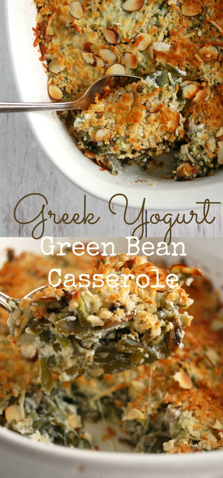 This green bean casserole uses greek yogurt instead of cream of mushroom soup! Its EASY to make and so delicious!!!