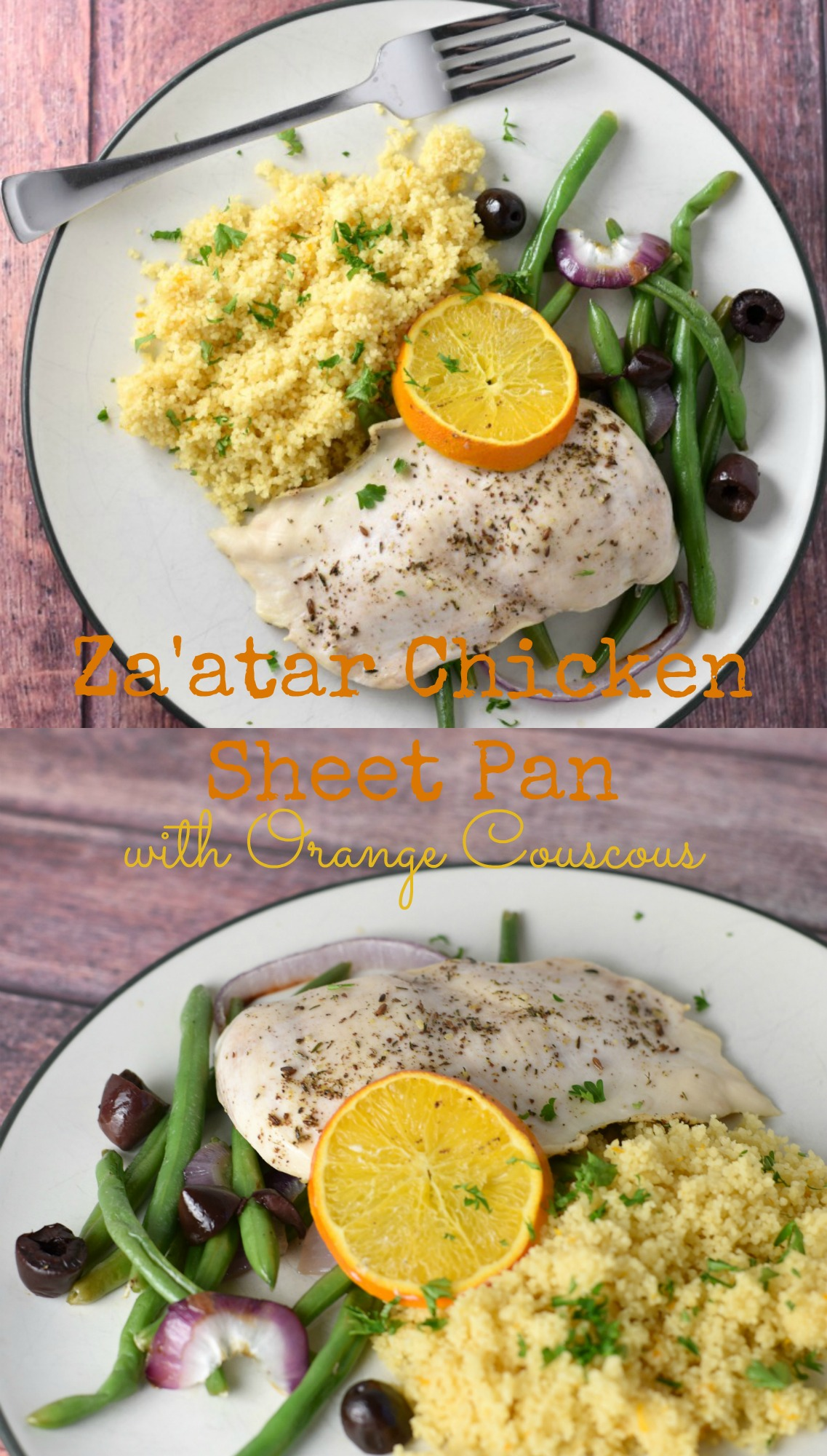 Za'atar Chicken Sheet Pan is an easy and flavorful recipe that is ready in under 30 minutes! Served with an orange flavored whole wheat couscous, its a healthy meal the family will love!