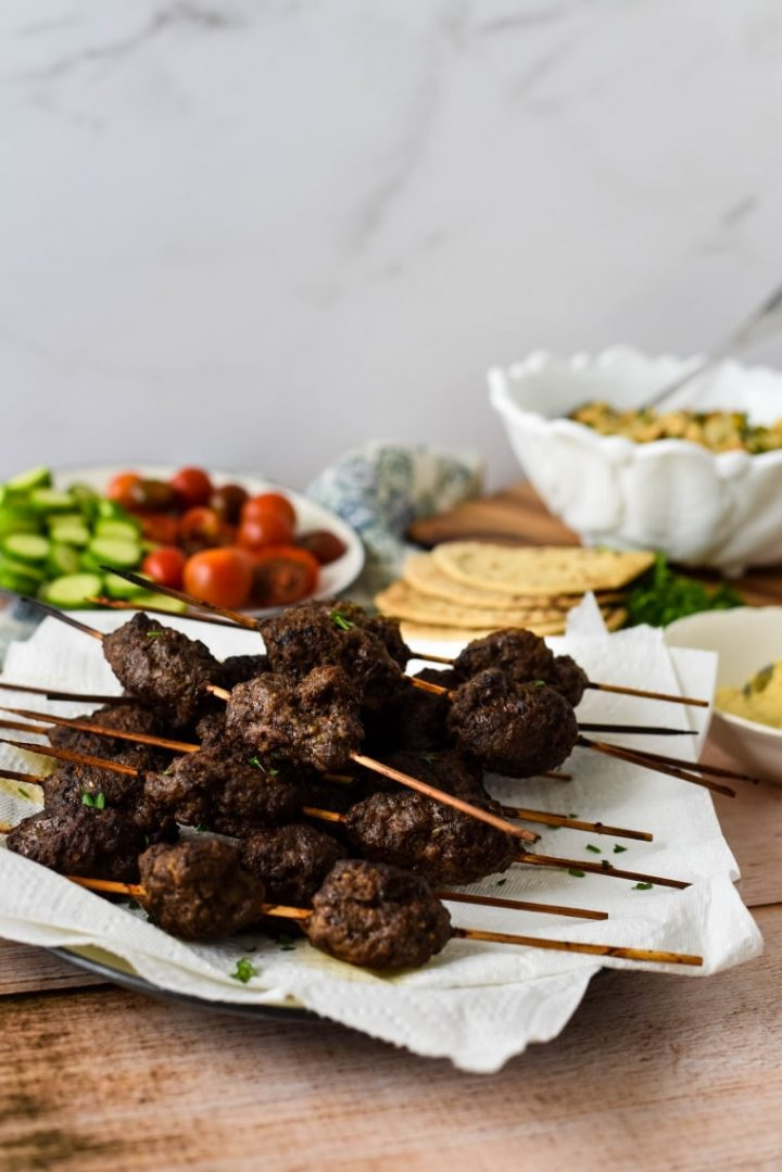 beef kofta skewers with pita