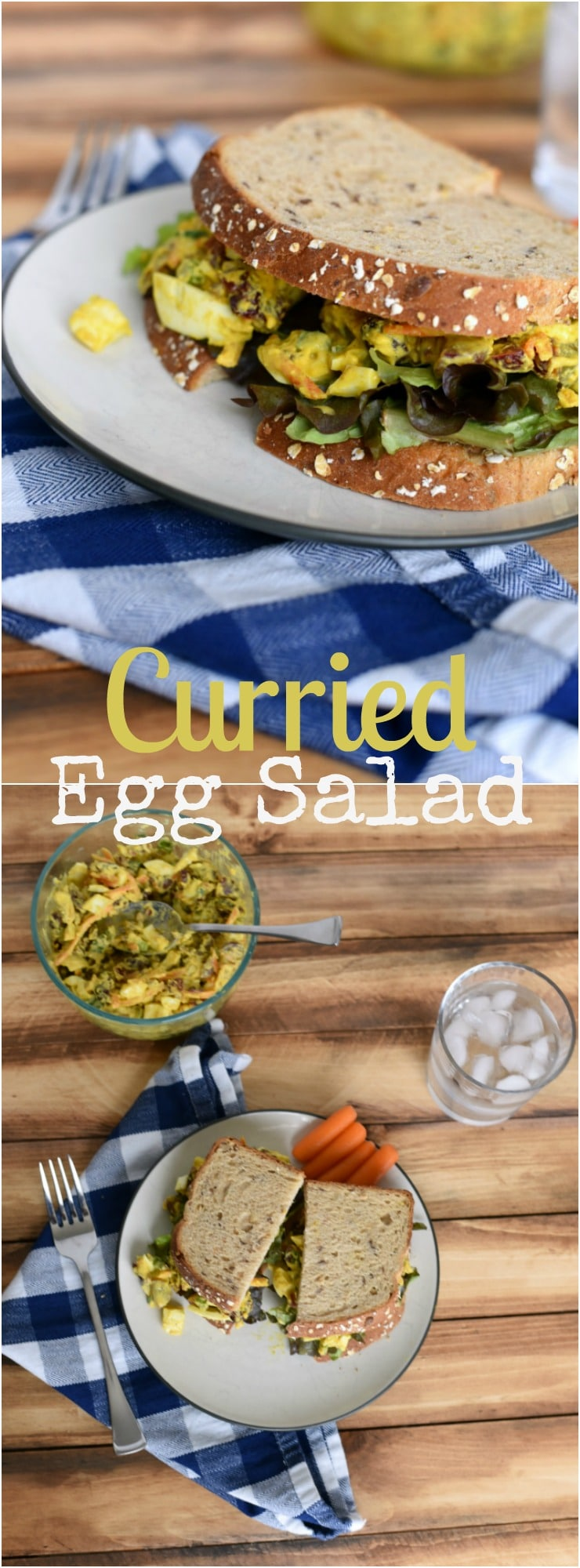 Upgrade your boring ho-hum egg salad into this super healthy and easy lunch! A perfect way to use leftover hard boiled eggs! Curried Egg salad with cranberries, pecans and greek yogurt! SO GOOD!