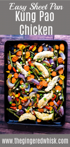 Rainbow Veggie and Chicken on sheet pan with kung Pao sauce