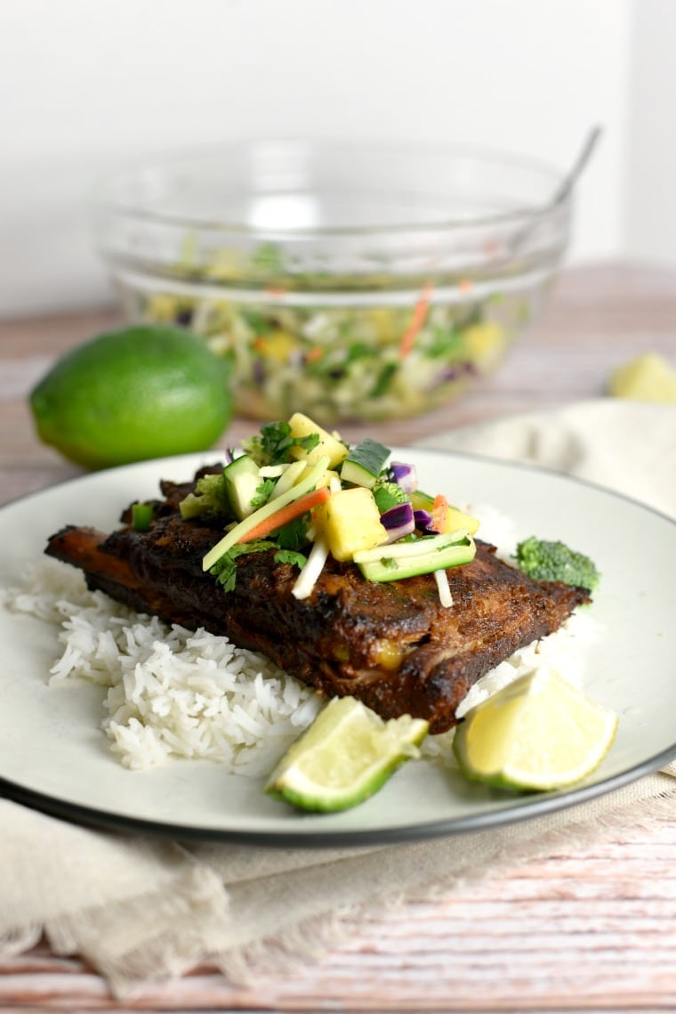 pork ribs with rice and pineapple salsa