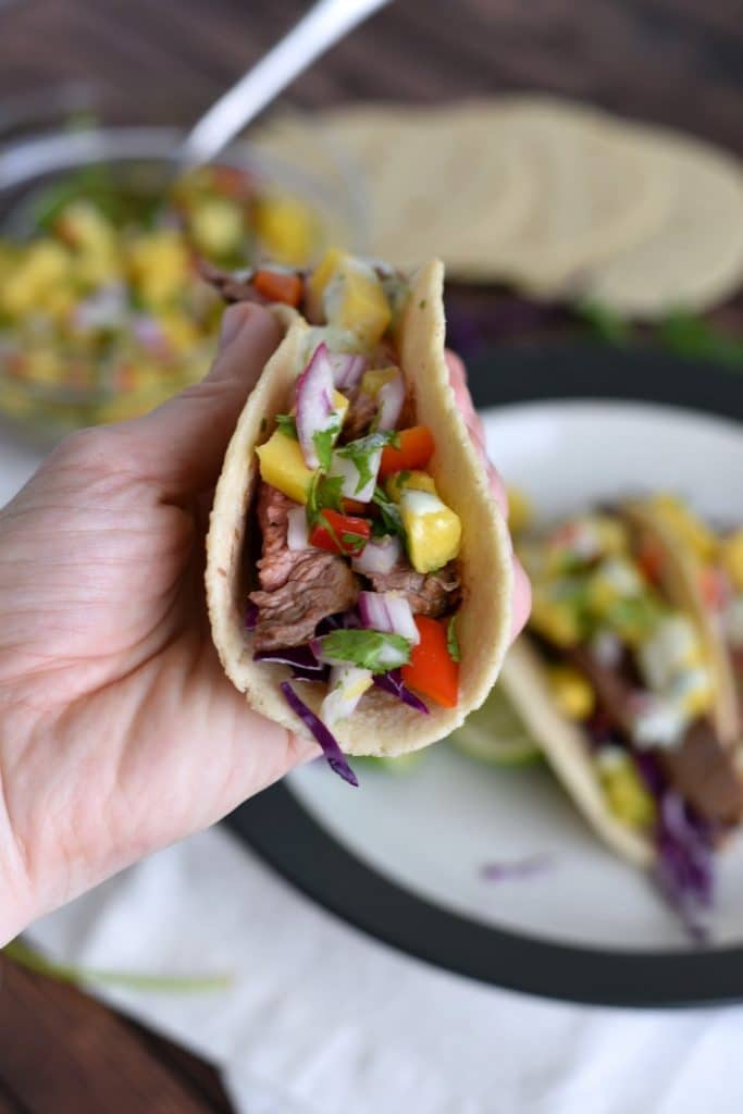 Flank Steak Tacos with Cilantro Lime Sauce