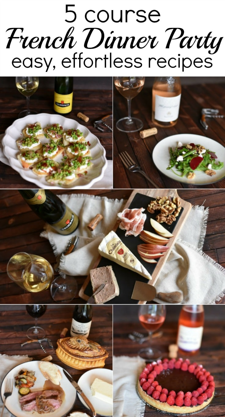 Host an easy and almost effortless 5 course french meal - a complete menu with wine pairings for each course! easy, quick recipes