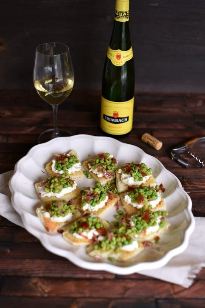 ricotta and pea toasts - riesling