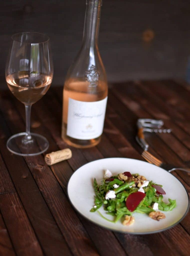 simple goat cheese salad - french wine - whispering angel - rose