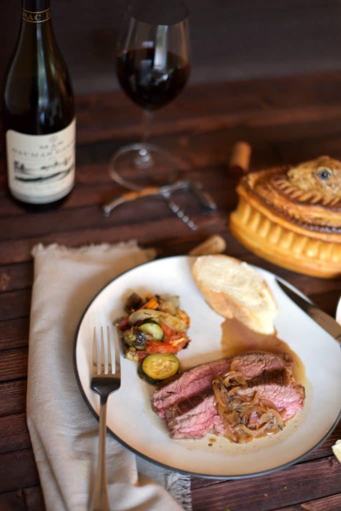 steak - rustic ratatouille - french red wine