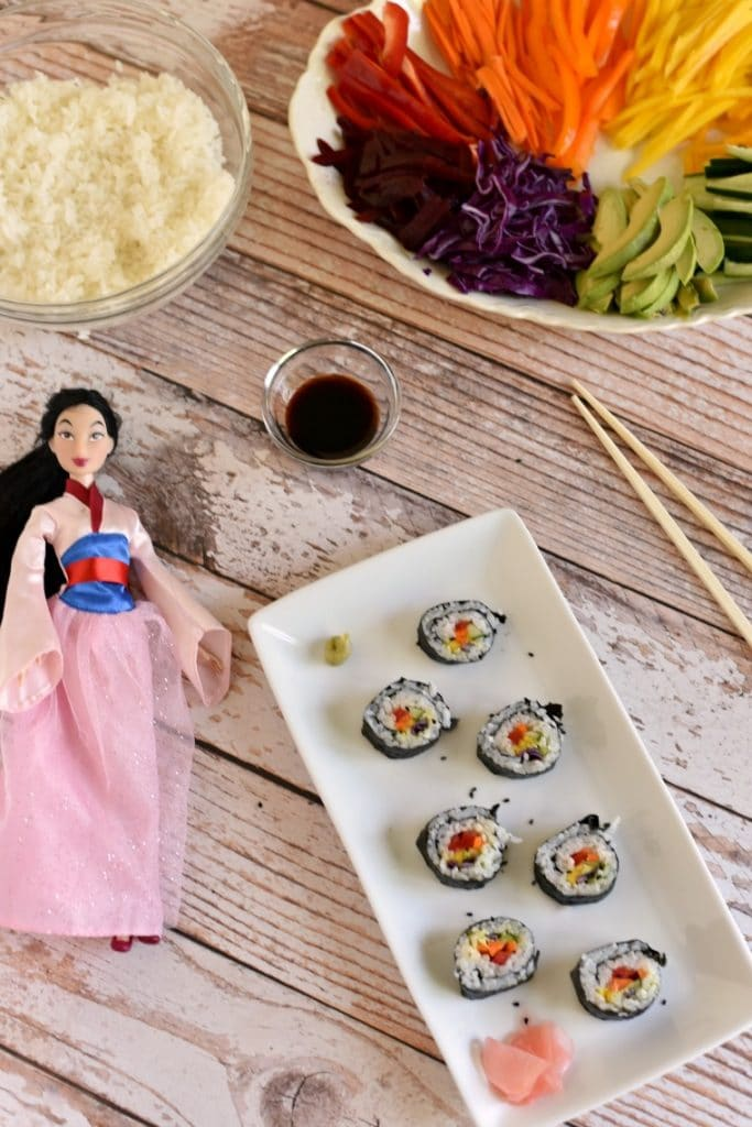 Ulan Inspired Recipe for kids sushi - rainbow veggies