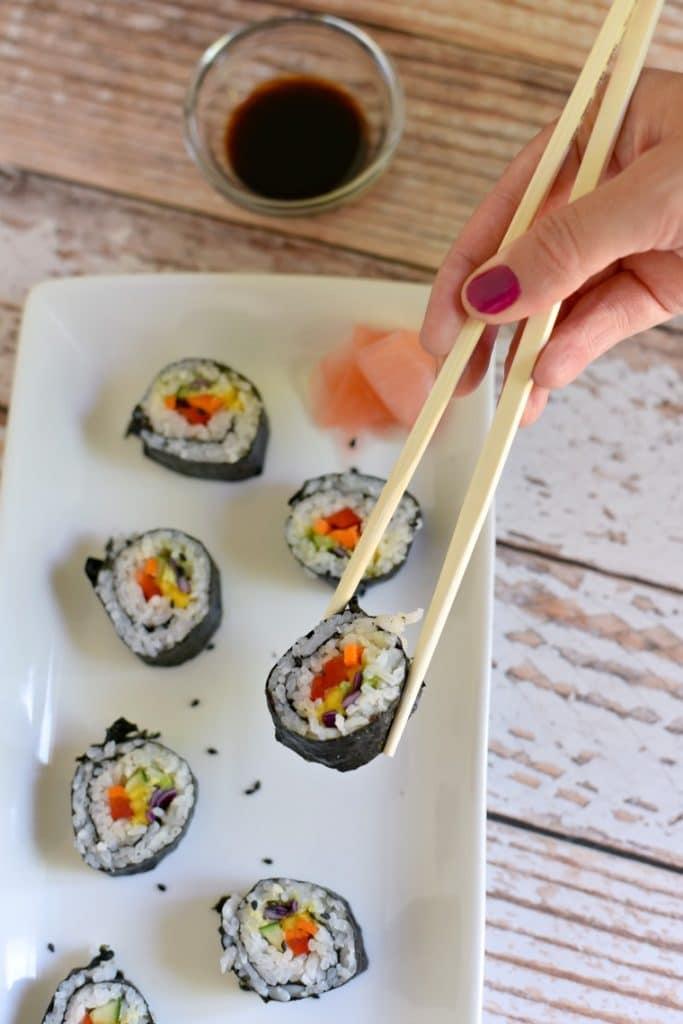 rainbow veggie sushi
