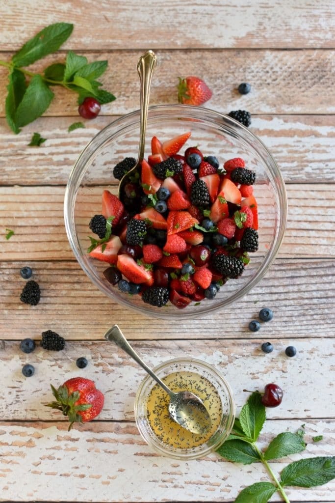 Easy Berry Salad with Mint Poppy Seed Dressing
