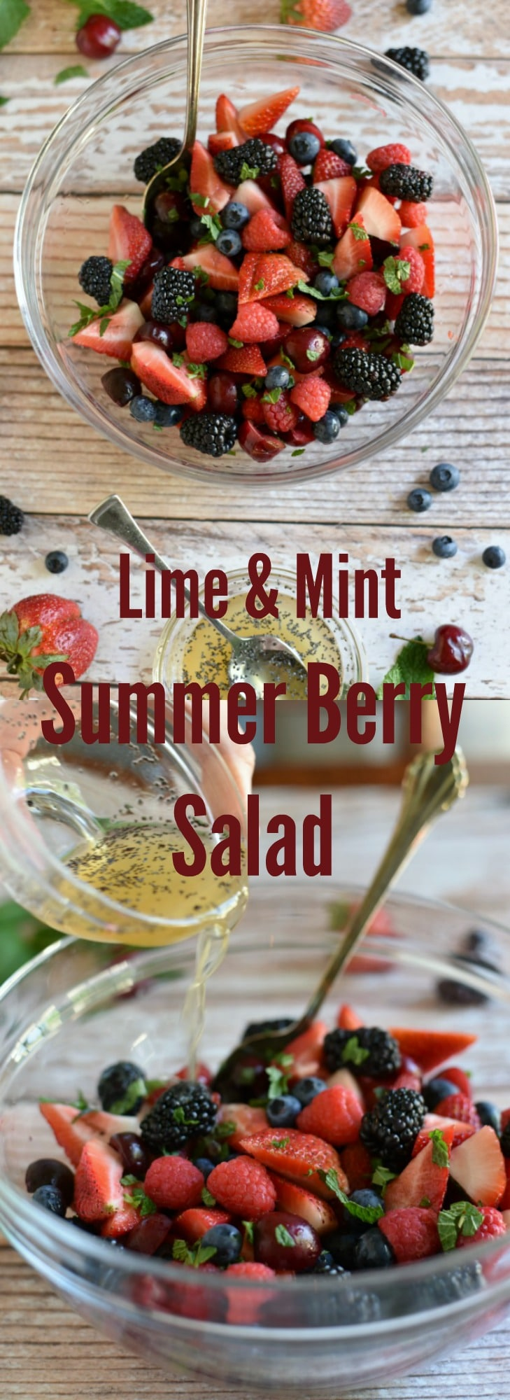 Summer Berry Fruit Salad with Mint Honey Lime Dressing and Poppy Seeds! Perfect side dish for bbq's, picnics and more!