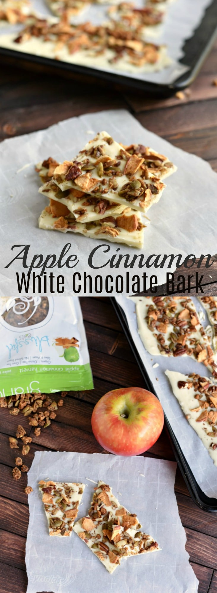 This easy apple cinnamon white chocolate bark is studded with crisp dried apples, apple cinnamon granola and chopped pecans. It makes a perfect fall treat! 