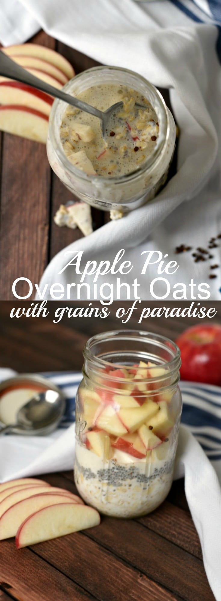 Breakfast won't get easier than these easy Apple Pie Overnight Oats with Grains of Paradise! You only need 5 minutes of prep time and no cooking for a hearty and delicious breakfast! Easy Breakfast, Overnight Oats Recipe, Grains of Paradise