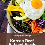 bowl of beef bulgogi with text overlay of recipe name