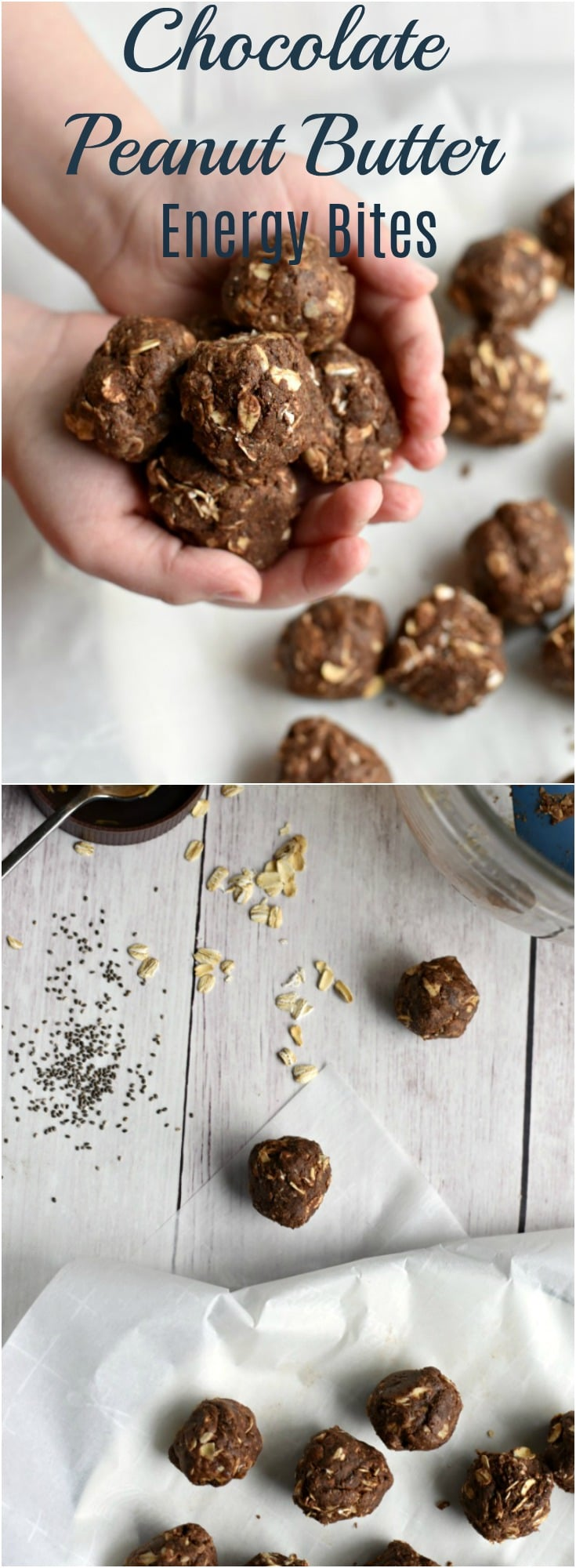 These easy to make chocolate peanut butter energy bites are the perfect to-go snack when you need something healthy yet want something sweet! 