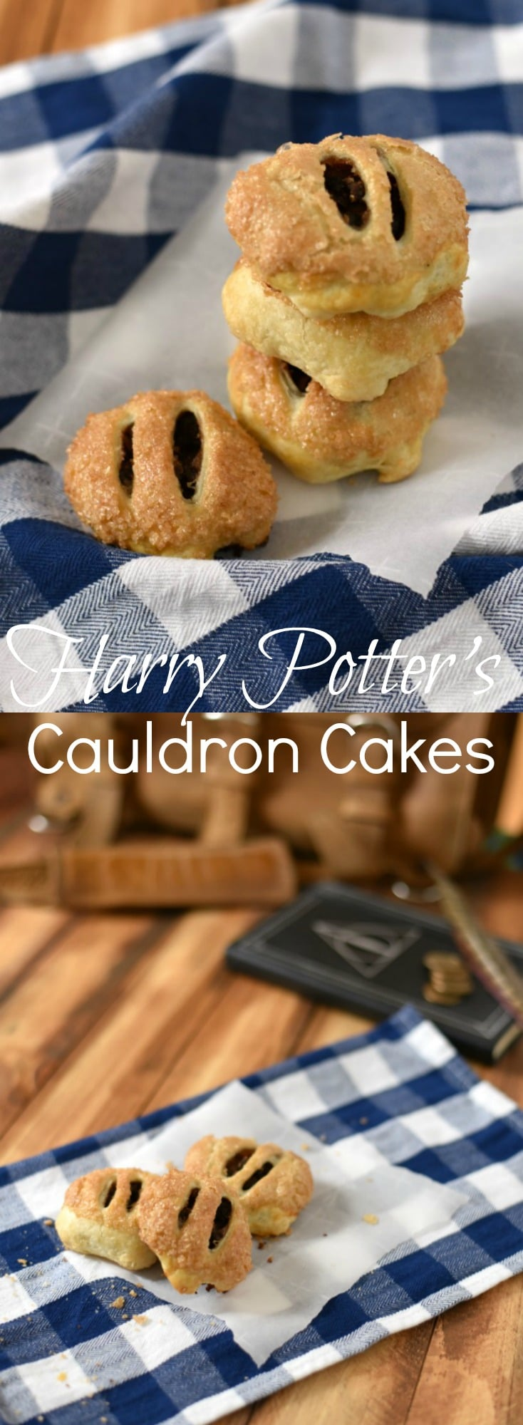 Cauldron Cakes are tender little treats (also known as Eccles Cakes) stuffed with spiced dried figs & wrapped in puff pastry. Harry Potter Inspired Recipe.