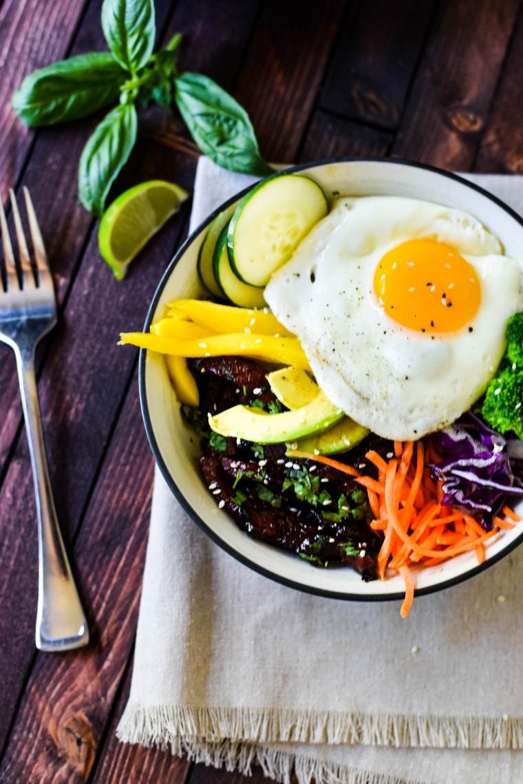 bowl with bulgogi and fork