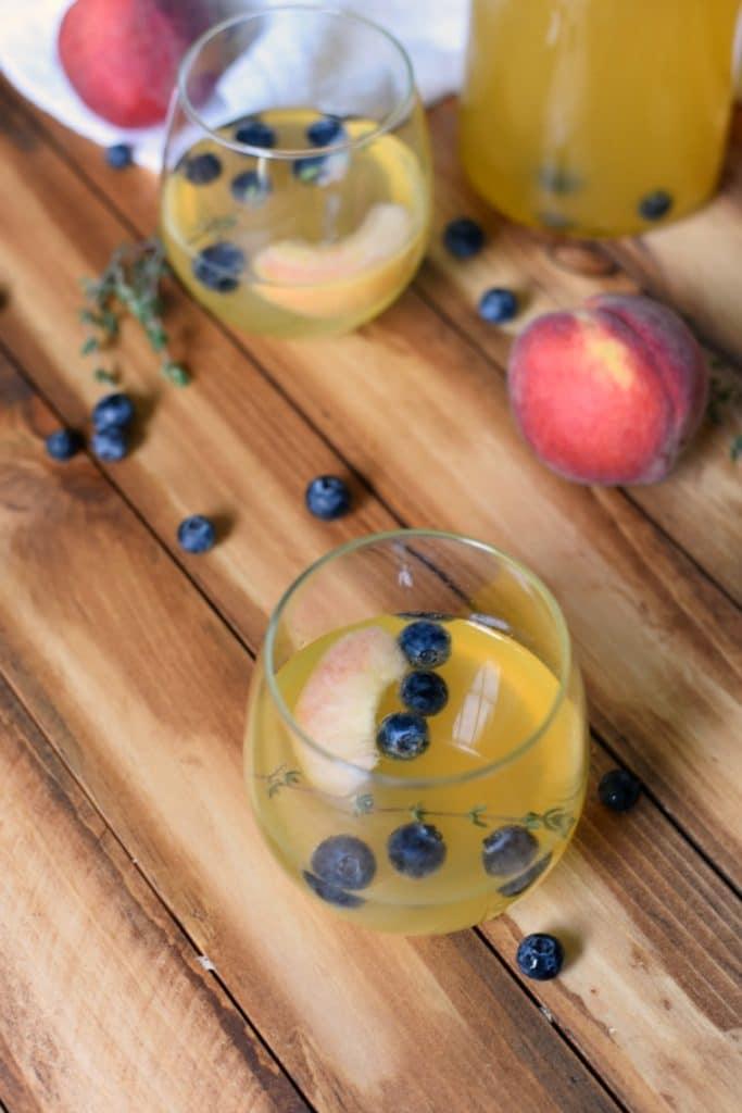 Peach Blueberry Thyme Sangria