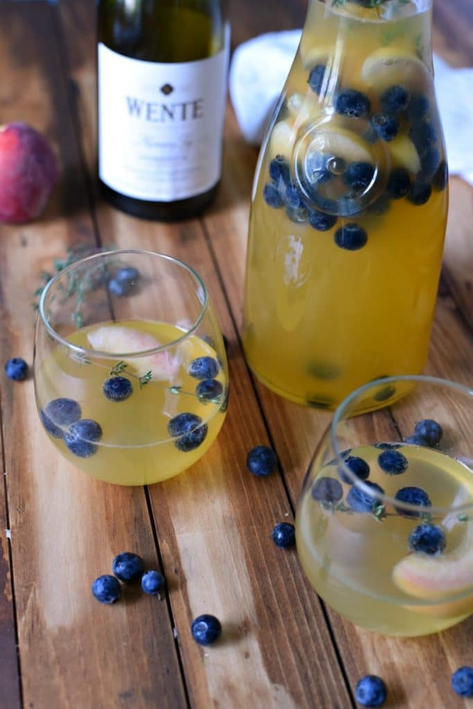 peach Blueberry Thyme Sangria Recipe