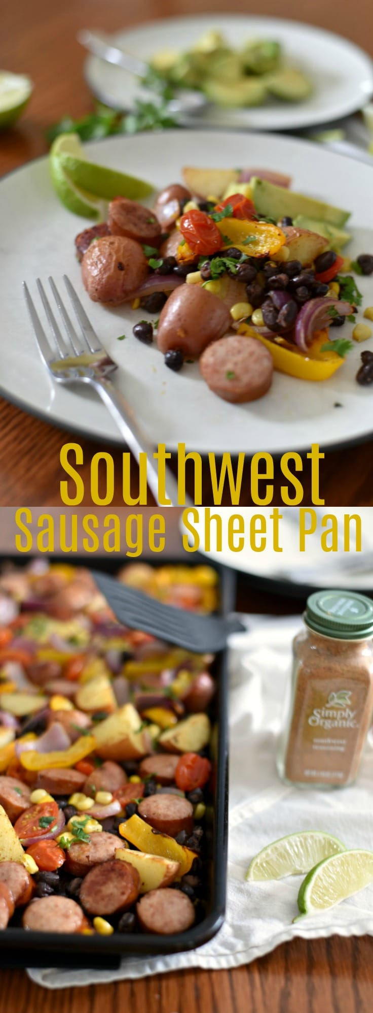 This easy sheet pan meal takes less than 30 minutes and is studded with fantastic southwest flavors! 