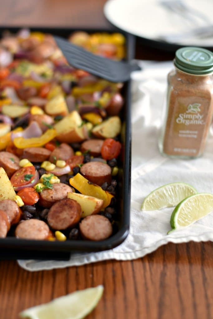 Mexican Sausage Sheet Pan with plate, spatula and spice mix
