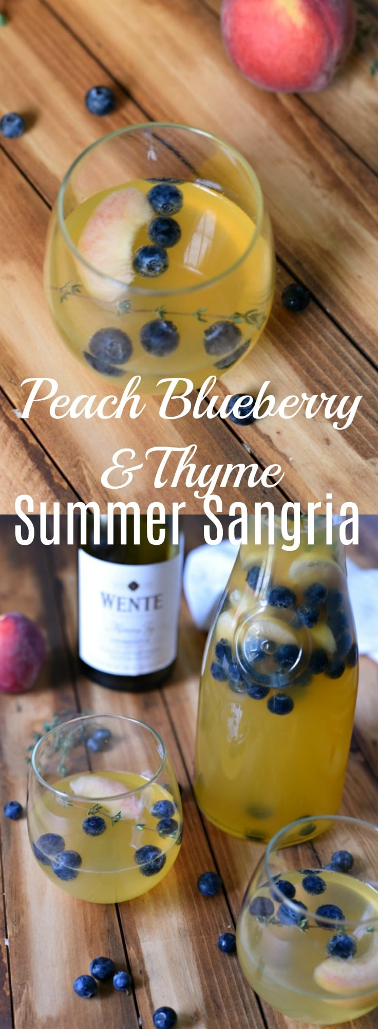 Peach, Blueberry and Thyme Summer Sangria Recipe - This chardonnay sangria is
