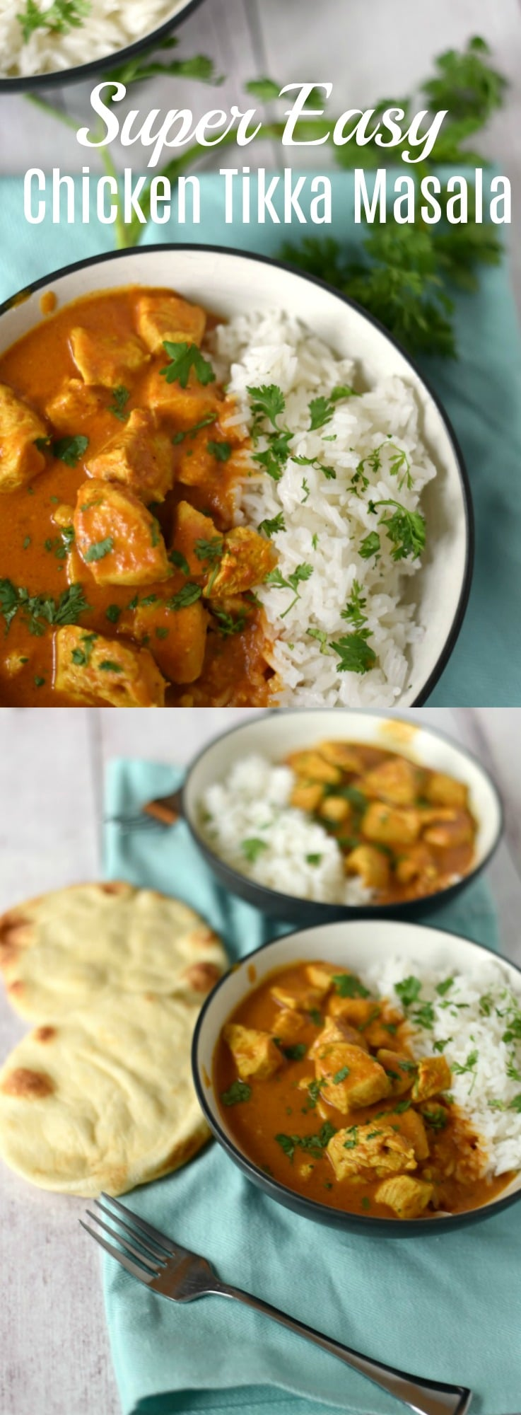 This easy Chicken Tikka Masala recipe is ready in about 20 minutes thanks to the pre-made masala paste that turns this into a pantry-staple, quick make meal your family will love! 20 Minute Meal, Freezer Meal (kind of), Indian recipe, Easy Recipe,