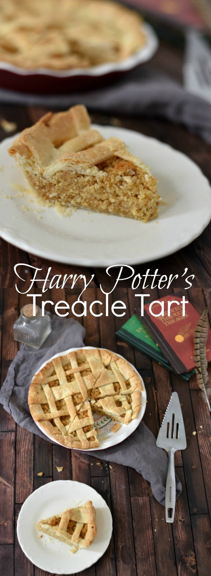 This easy Treacle Tart is a lovely dessert, and perfect for the Harry Potter fan! Just three ingredients needed for the filling!  Harry Potter Recipe, Easy Dessert, Lattice Pie