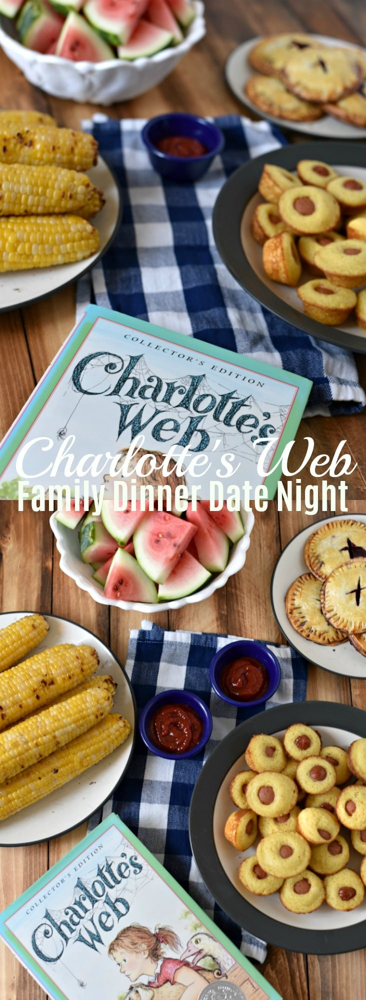 Aimed at quality time with your family - reading books, cooking & baking together, & then watching a movie. Charlotte's Web themed dinner & dessert.  Family Date Night, Family Dinner Date, Family Dinner, Charlotte's Web themed meal, Charlotte's Web Recipe, Mini Corn Dog Recipe, Cherry Hand Pie Recipe,